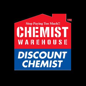 chemist warehouse logo on grey background